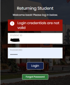Error message saying 'Login credentials are not valid'